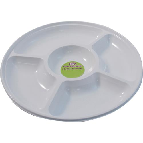Snack Tray 5 Compartment Plastic White Serveware Serving Platter Bowls
