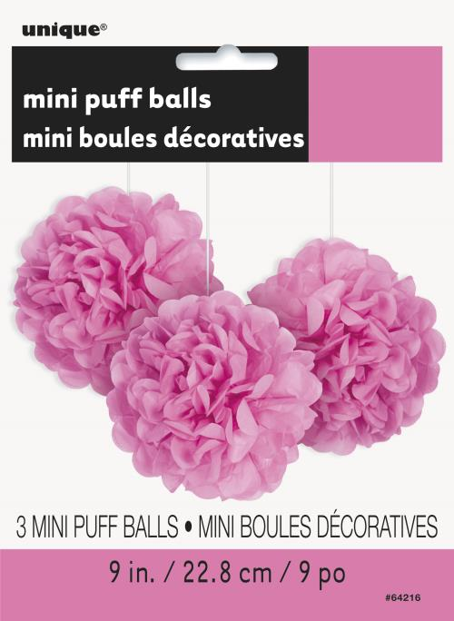 Puff Decorations x3 Hot Pink Hanging Decorations