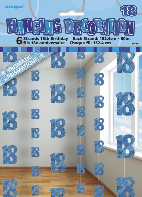 Hanging Decorations X6 Age 18 Male Birthday Party Glitz Blue