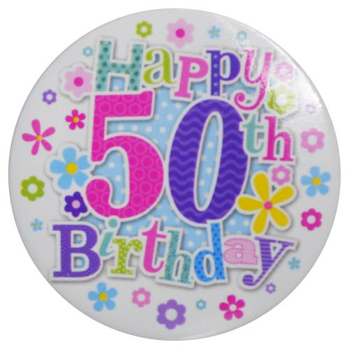 Badge Happy 50th Birthday Female Age 50 Party Wearable