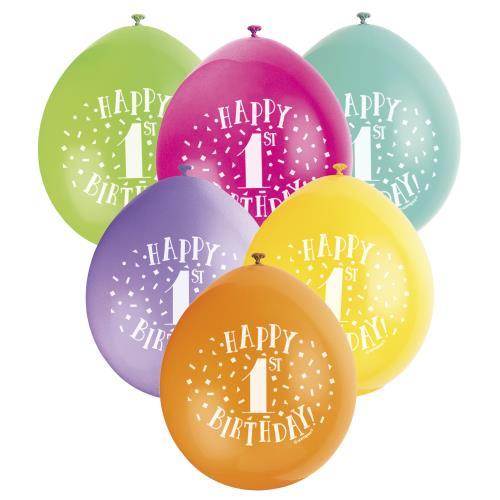 Balloons X10 Happy 1st Birthday Party Unisex Latex