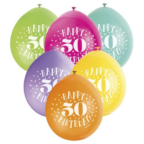 Balloons X10 Happy 50th Birthday Male Female Party Latex