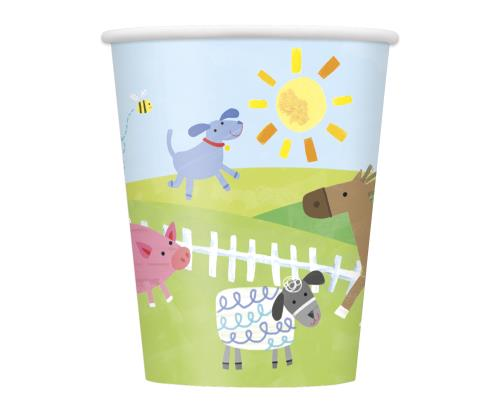Cups x8 Boys Birthday Party Farm Party Tableware