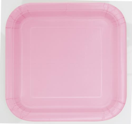 Dinner Plates x14 Square Lovely Pink Tableware