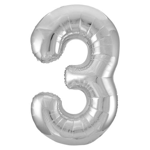 Large Balloon Number 3 Silver