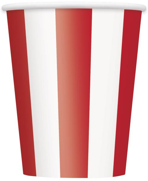 Cups x6 Stripes Ruby Red Tableware