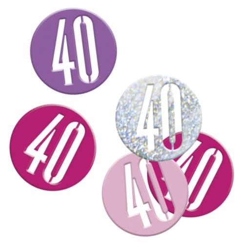 Table Confetti 40 Female 40th Birthday Party Age 40 Pink & Silver Table Decorations