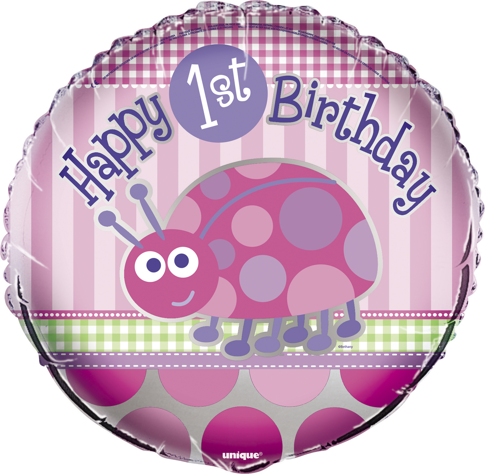 Image Is Loading Foil Balloon 1st Birthday Party Girls Ladybug One