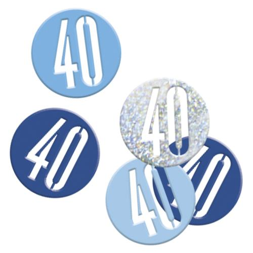 Table Confetti 40 Male 40th Birthday Party Age 40 Blue & Silver Table Decorations