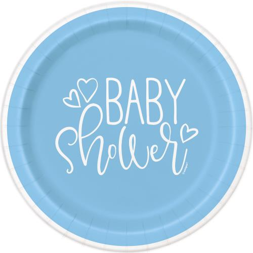 Plates x8 22cm Baby Shower Party Boys Blue Hearts Tableware