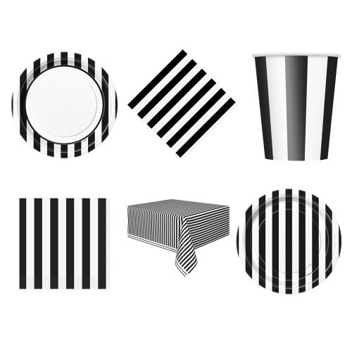 55 Item Set Stripes Midnight Black Tableware Plates Cups Tablecover