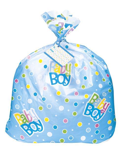Jumbo Plastic Gift Bag Baby Shower Party Boys Blue Bags
